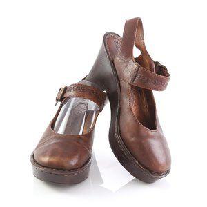 Born Brown Leather Platform High Heel Sandals
